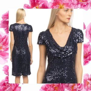 $490 NWT Badgley Mischka Cowl Neck Sequins Dress 2